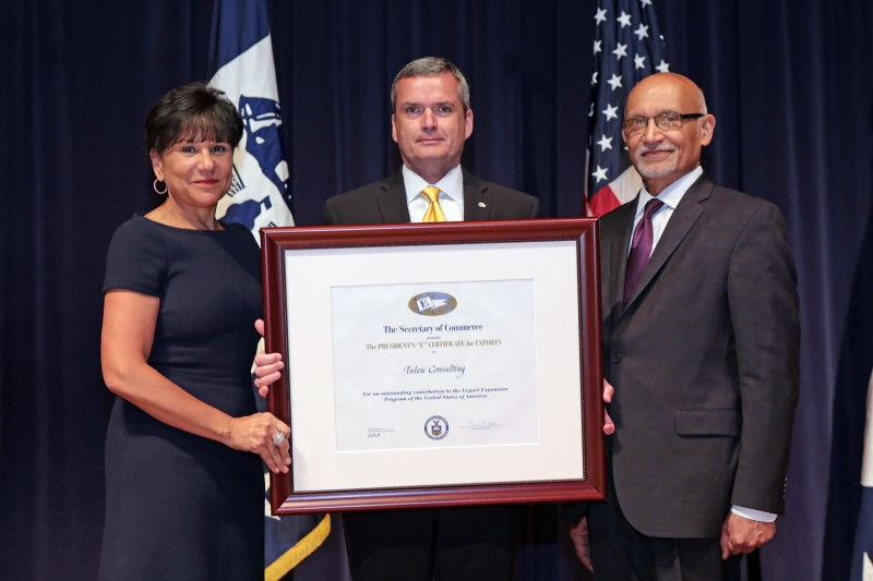 From Left to Right U.S. Department of Commerce Secretary Penny Pritzker, Tuleu Consulting Company's CEO Jean-Marc Tuleu and Director General of the U.S. and Foreign Commercial Service and Assistant Secretary for Global Markets Arun M. Kumar